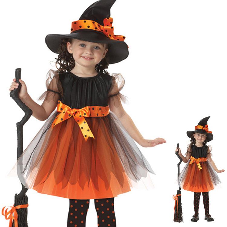 Penyihir Halloween untuk anak perempuan kostum (Oranye)
