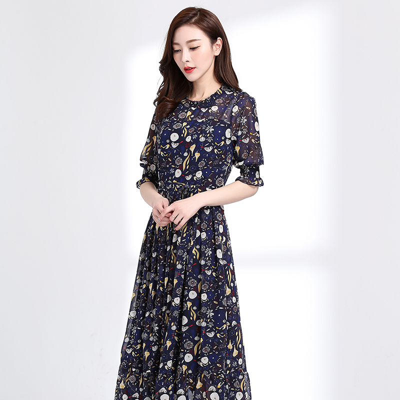 ... Perempuan bunga dan bagian panjang Slim gaun pinggang sifon rok Lengan