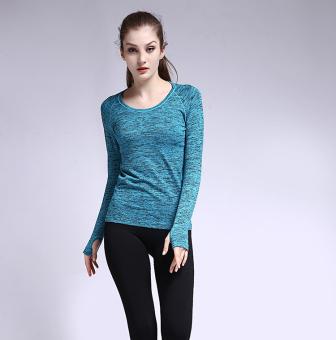 Perempuan lengan panjang berjalan cepat kering pakaian yoga pakaian kebugaran ruang dicelup (Biru)