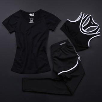 Perempuan tiga potong dilengkapi gym berjalan pakaian Workout pakaian yoga (Set A)