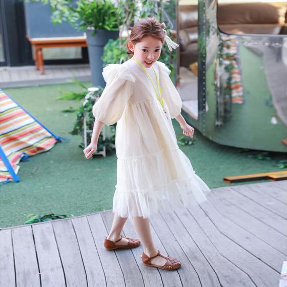 Peri musim panas gaun putri baru gadis berpakaian (Putih)