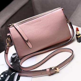 Persegi kecil Jianyue kulit lembut tas JRCVSW pola tas selempang tas wanita (Merah muda)