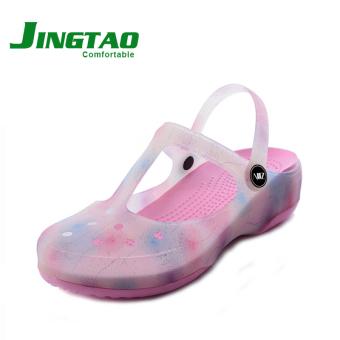 Harga Terendah Perubahan warna musim panas perempuan yang berat itu non-slip sandal sepatu lubang