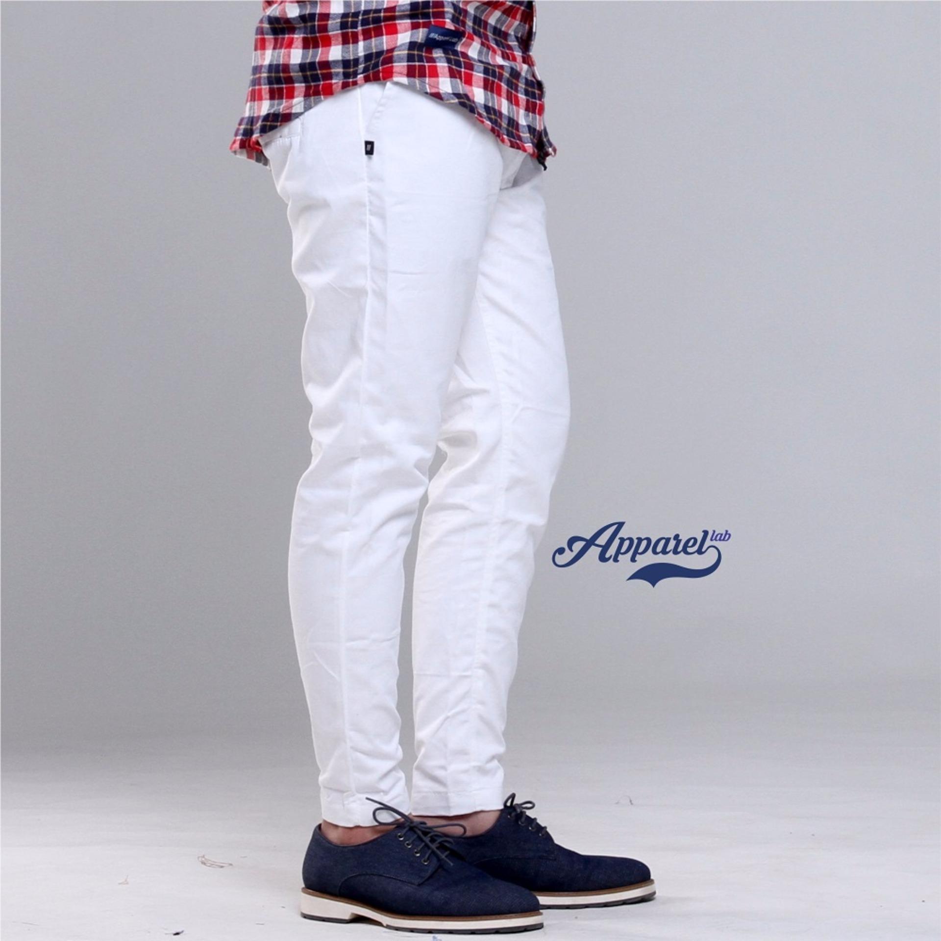 [PINGGANG KARET] Apparel Lab Chino Pants (White)