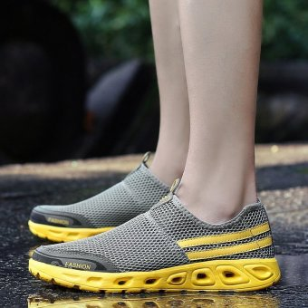 PINSV Fashion Men's Mesh Casual Slip-Ons & Loafers Sneakers - Grey,Yellow - intl - 4
