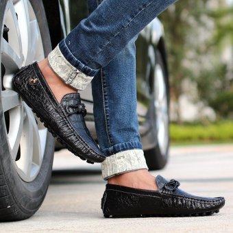 PINSV Pria Sepatu Kulit Asli Sepatu Kasual Loafers Flat (Hitam) - 3