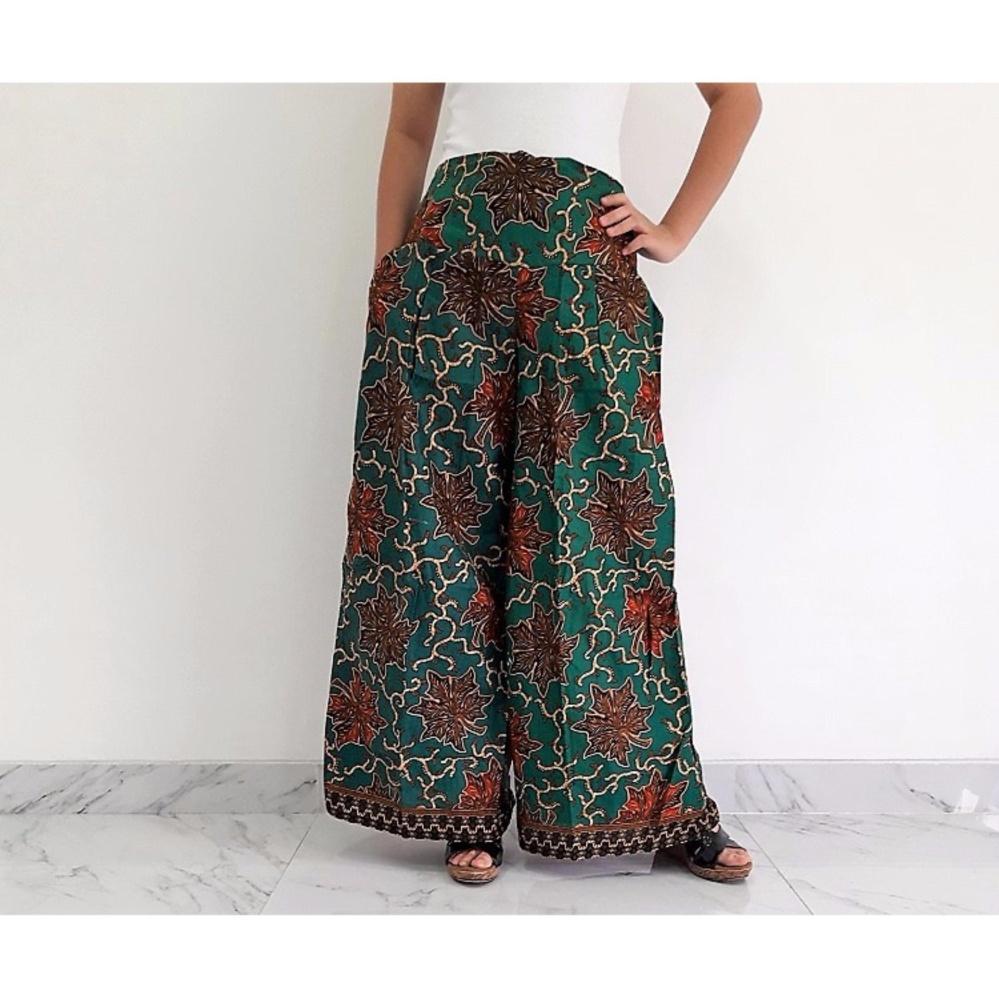 Pitakita Celana Batik Kulot Panjang Ckp01a Daftar Harga Terbaru Stelan 3 4 Berlengan Pendek Print Spt002 01 Karenina Hijau