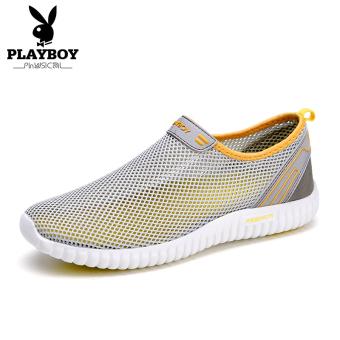 Harga PLAYBOY bernapas jala musim panas permukaan sepatu pria I kasual  sepatu (Model laki-laki + Abu-abu terang) Murah 4ab0183180