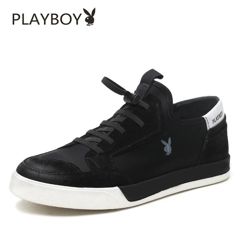 Flash Sale PLAYBOY Gaya Korea baru musim gugur pria kasual sepatu sepatu pria (Hitam FY170165)
