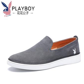 Harga Terendah PLAYBOY Inggris kulit pria set kaki sepatu SLIP ON Qiudong sepatu .