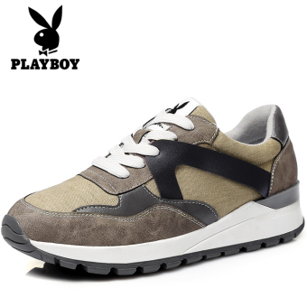 PLAYBOY Kasual Sol Tebal Sepatu Trendi Korea Fashion Style Olahraga Sepatu (Coklat)