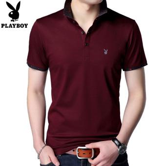 Pencarian Termurah PLAYBOY katun lengan pendek lengan pendek kemeja POLO t- shirt (Merah anggur