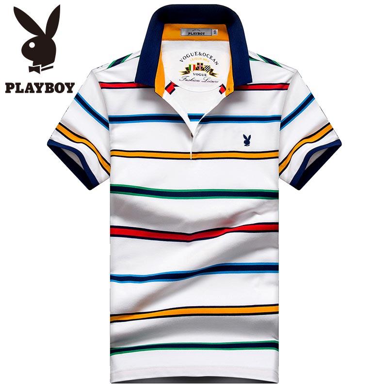 Flash Sale PLAYBOY Katun Pria Kerah Turndown Slim Kemeja POLO T-shirt (Putih)