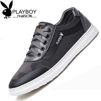 Harga PLAYBOY Korea baru renda pria sepatu kasual musim gugur pria (Abu-abu  gelap) 7bd3fa11d4