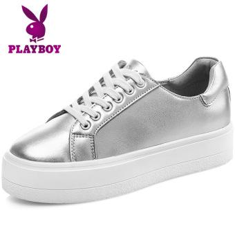 Beli PLAYBOY Korea Fashion Style Kulit Sol Tebal Bernapas Sepatu Kets Putih Papan Sepatu (Perak) Murah