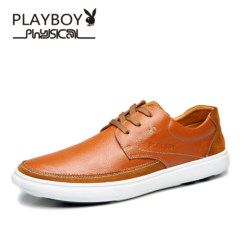 Flash Sale PLAYBOY Korea Fashion Style Muda Inggris Kasual Sepatu Kulit  Sepatu Pria (Kuning coklat 04e8d1f5cb