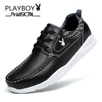 PLAYBOY Korea Fashion Style Musim Gugur Dan Dingin Pasang Sepatu Sepatu Pria (Total CX39718 Hitam)
