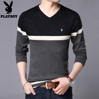Perbandingan harga PLAYBOY Korea Fashion Style musim gugur Slim v-neck sweater pria sweater (