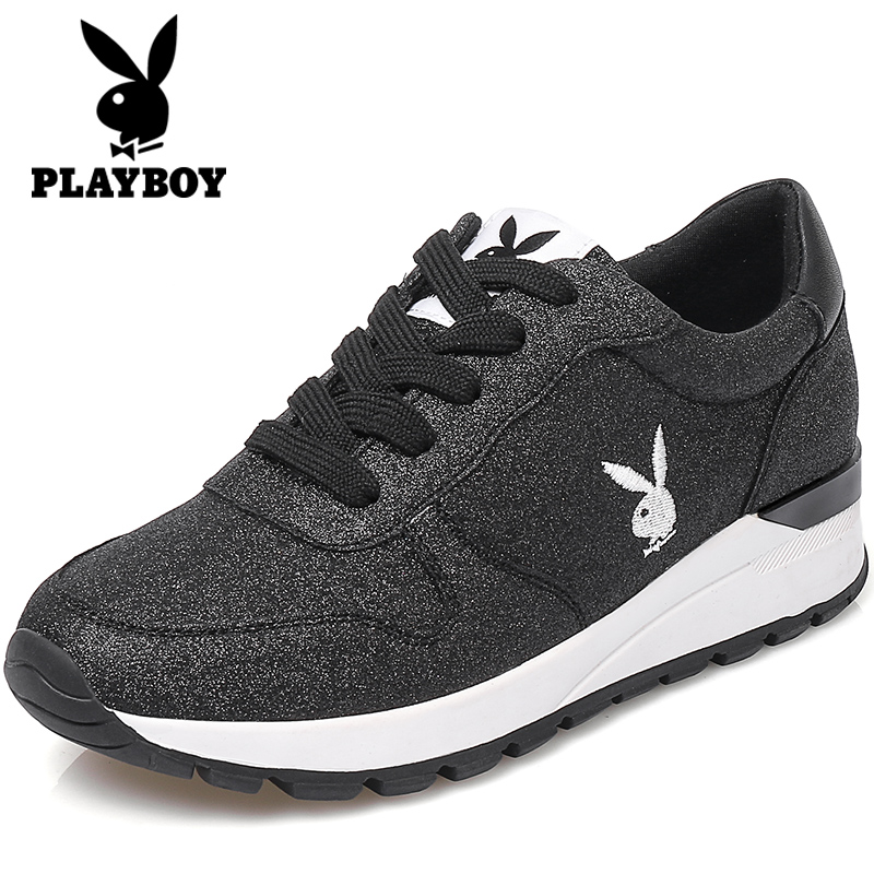 PLAYBOY Korea Fashion Style Perempuan Datar Musim Dingin Sepatu Wanita Sepatu Running Sepatu Sneakers (Hitam