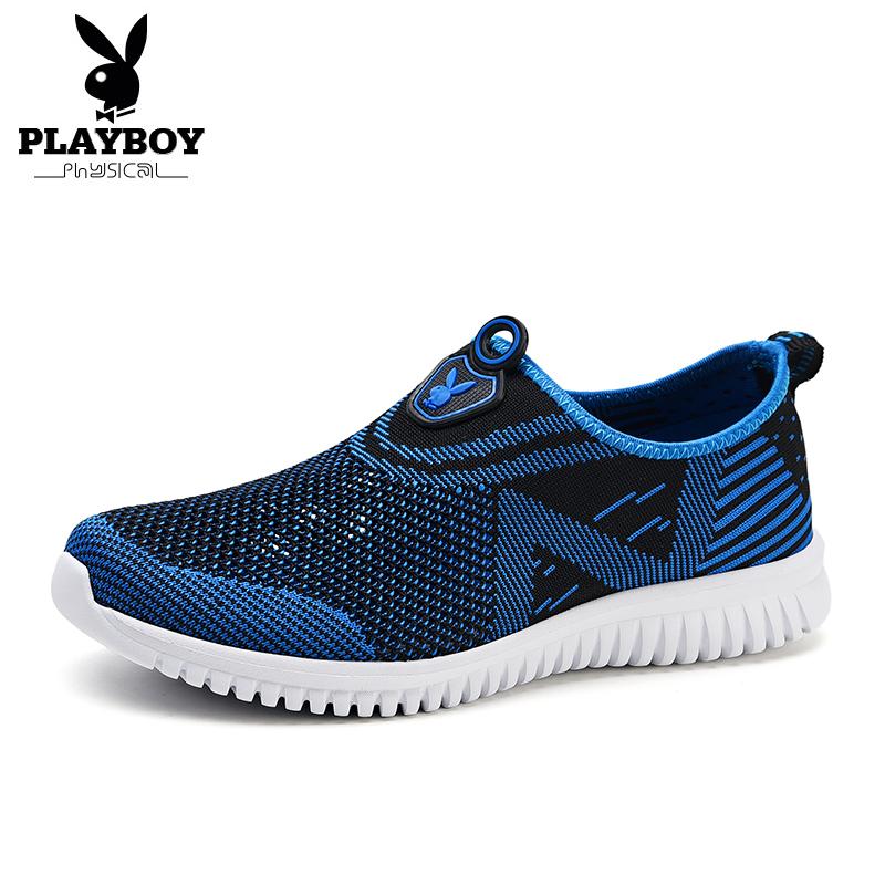 Flash Sale PLAYBOY Korea Fashion Style Tenun Pria Bernapas Sepatu Sepatu Trendi (Safir biru)