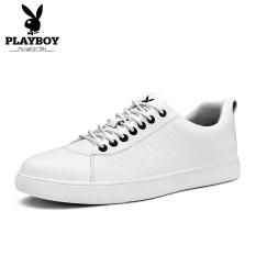 PLAYBOY kulit hitam musim gugur baru dan sepatu santai, sepatu pria (Putih)