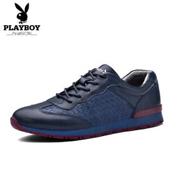PLAYBOY Modis Musim Gugur Baru Putaran Sepatu Sepatu Sepatu Pria (Biru Tua)