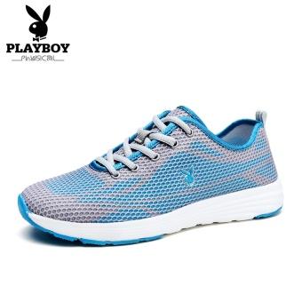 Beli PLAYBOY Musim Gugur Baru Bernapas Kebugaran Kasual Sepatu Pria Sepatu (Abu-abu/biru safir) Online
