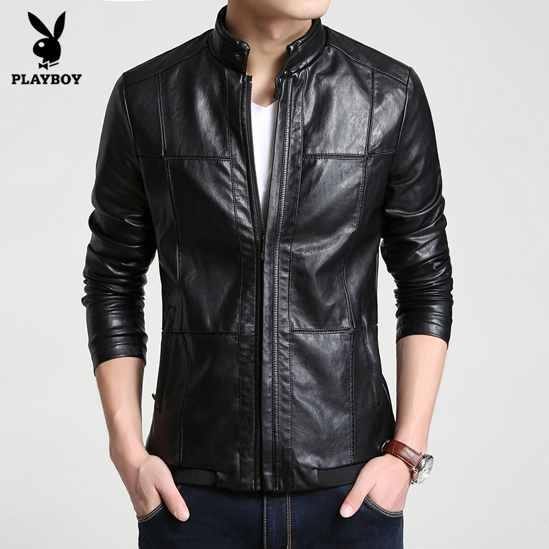 ... Flash Sale PLAYBOY pasang laki laki musim gugur dan musim dingin Slim jaket kulit kulit kulit