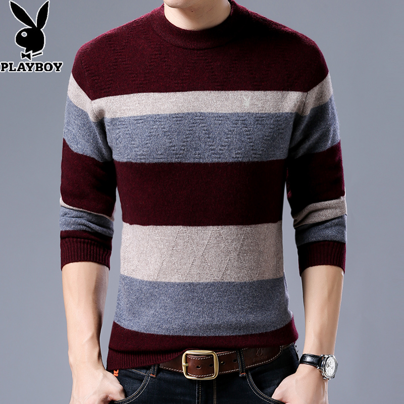 Flash Sale PLAYBOY pria leher bulat murni sweater wol baru sweater (Merah anggur)