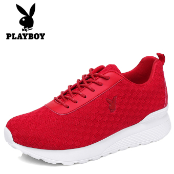 PLAYBOY Putih Perempuan Bernapas Sepatu Olahraga Sepatu (Merah)