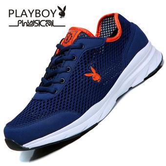 PLAYBOY sepatu lari Korea versi sepatu pria sepatu (Biru tua)