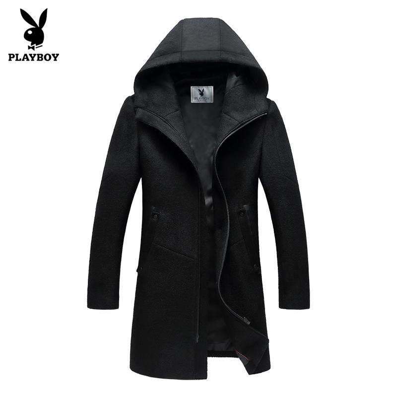 Flash Sale PLAYBOY Shishang pria bagian panjang dari musim gugur dan musim dingin wol wol jas