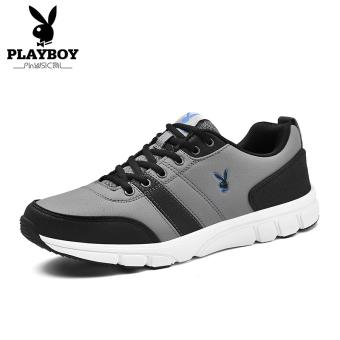 PLAYBOY Siswa Modis Sepatu Lari Sepatu Pria Sepatu Olahraga (Abu-abu Gelap/Hitam)