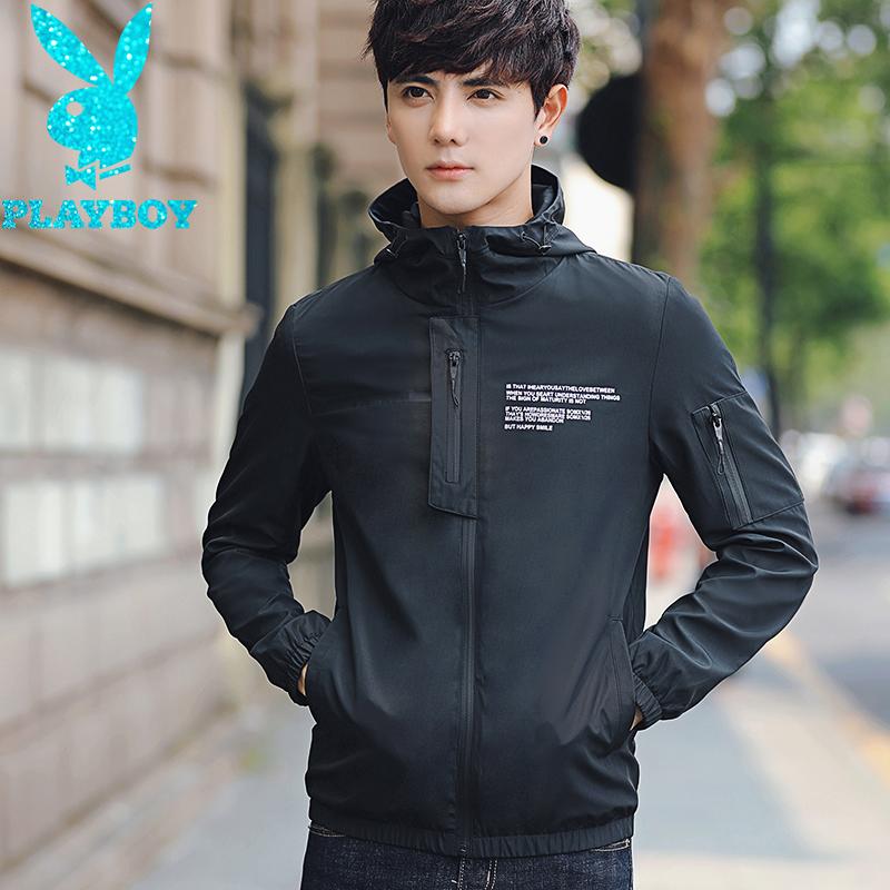 Flash Sale PLAYBOY Slim berkerudung remaja jaket jaket bisbol seragam (Hitam )