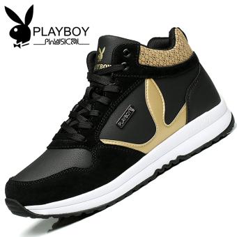 PLAYBOY Tambah Beludru Laki-laki Lebih Tebal Sepatu Sneakers Sepatu Pria (Hitam)
