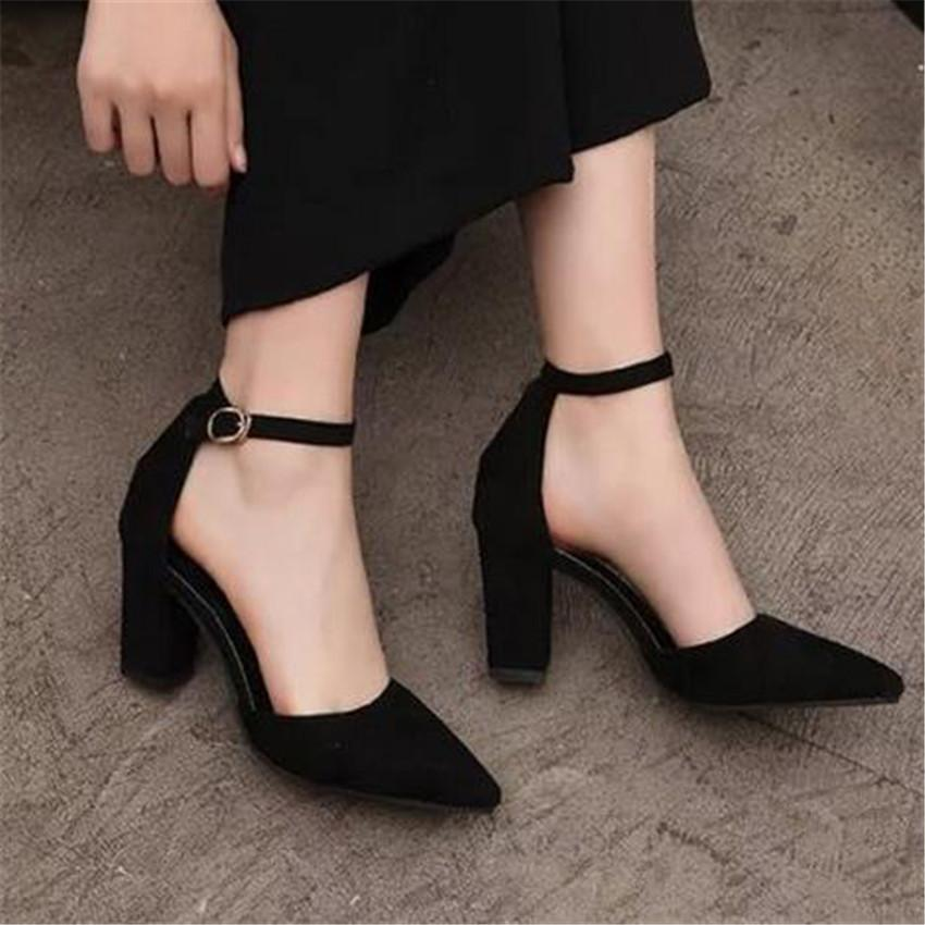 Pointed Toe Suede Block Mid Heel Pumps Ankle Strap Womens SandalsProm Shoes 7cm .