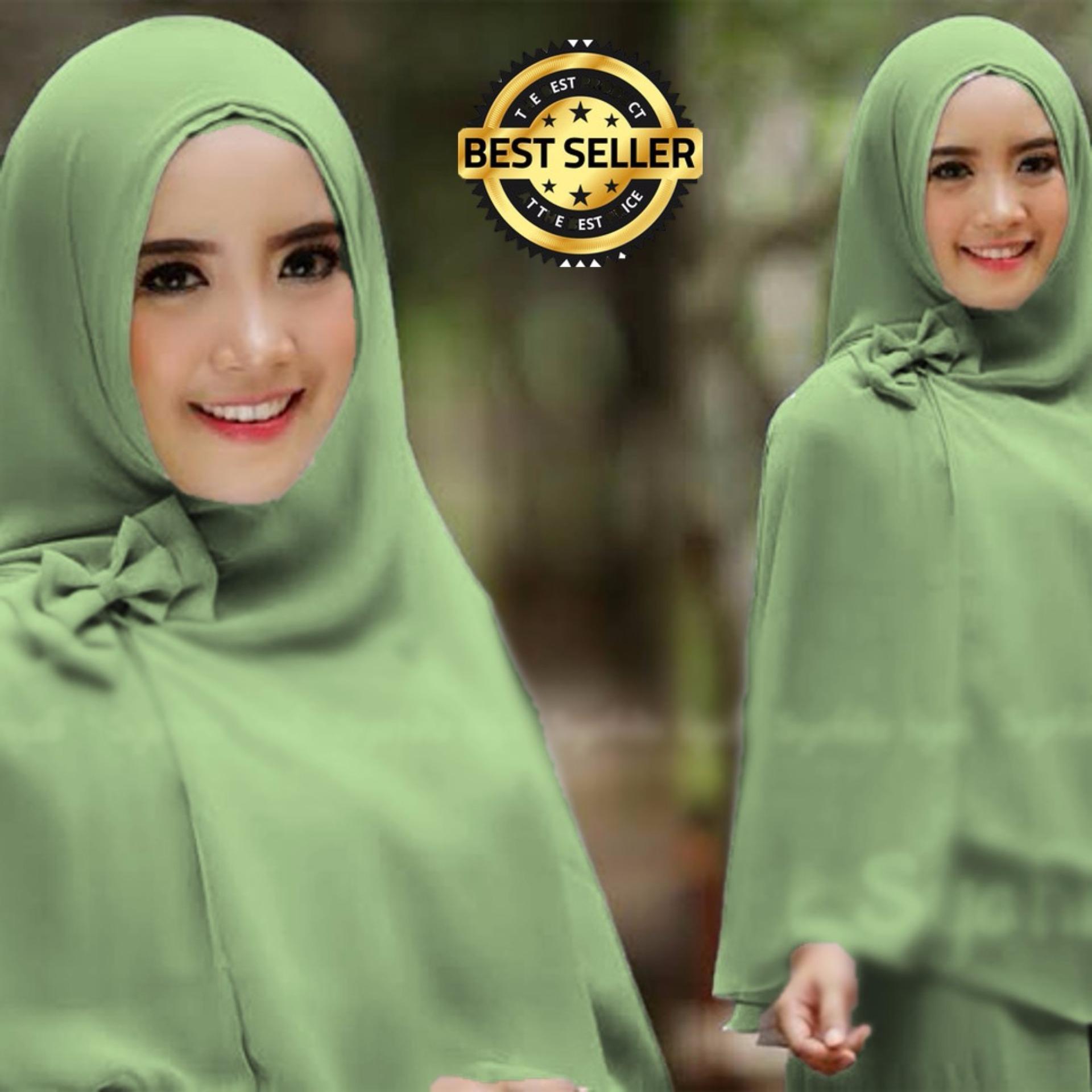 ... Premium Jilbab Syar'i Tanpa Pet Model Khimar Dhea FREE Bross Pita - HIJAU MINT ...