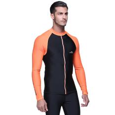 Pria berselancar Snorkeling berenang kulit atasan Tee Shirt lengan panjang baju renang Rashguard berselancar - jeruk