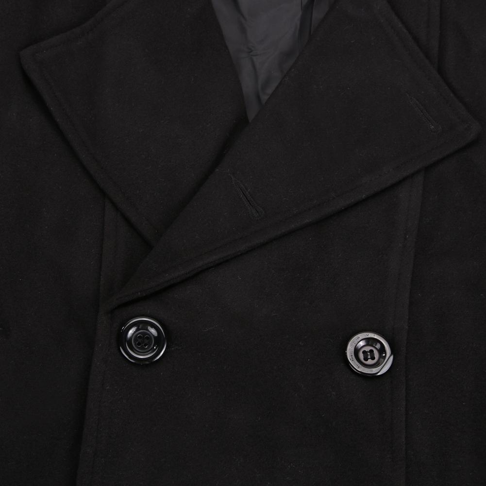 Pria jaket panjang berkancing ganda mantel musim dingin (hitam) M -