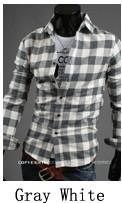 Jual Pria Korea Fashion Style Pria Slim Atasan Lengan Panjang Kotak Kotak Kemeja Jaringan Abu