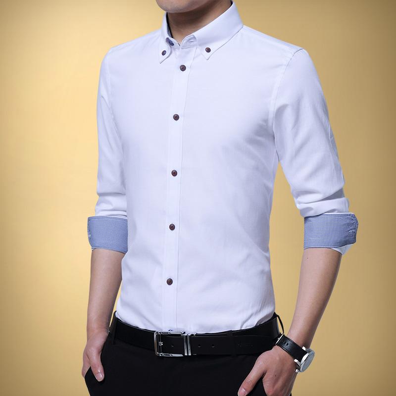 Flash Sale Pria lengan panjang Slim musim gugur kemeja hitam baju kemeja ( Putih)