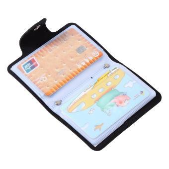 PU Leather ID Credit Card Holder Pocket Case Purse Wallet for 24Cards(Black) -
