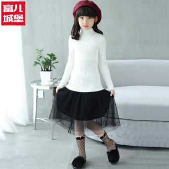 Periksa Peringkat Pullover tebal musim dingin gadis kecil bottoming kemeja kerah tinggi sweater (Putih)