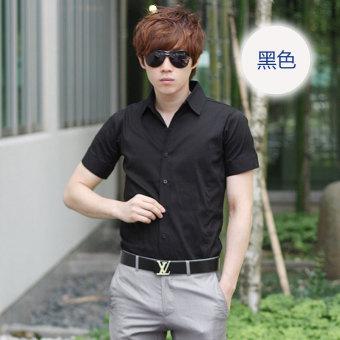 Gambar Putih musim panas pria lengan pendek baju kemeja (Hitam lengan pendek )