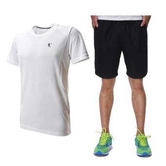 Qiaodan kasual laki-laki lengan pendek celana pendek joging kebugaran pakaian kebugaran pakaian (Putih + abu-abu gelap)