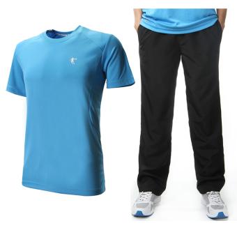 Qiaodan Laki-laki Berjalan Lengan Pendek Kebugaran Pakaian Celana Panjang (Langit biru + hitam) (Langit biru + hitam)