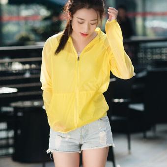 Qiaodan tenun baru musim gugur wanita matahari perlindungan pakaian kebugaran pakaian (Kuning)