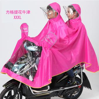 Periksa Peringkat Qinfeiman dewasa melihat sekeliling ganda ganda ponco jas hujan (Rose kotak 3XL (