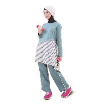 Qirani Baju Olahraga Wanita Muslim - Biru Tosca