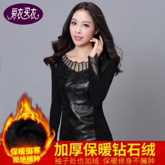 Anggaran Terbaik Qiudong ditambah beludru perempuan lengan panjang kemeja renda bottoming kemeja (Hitam berlian beludru